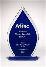 Flame Blue Back Acrylic Award - 3 Sizes - $51 - $60.75 - $70.50