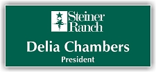 Dark Green/White 2-Color Laser Engraved Plastic Name Badge