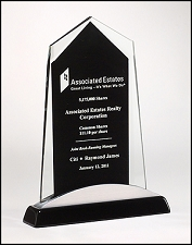 Apex Series Glass Award with Black Piano Finish Base - 3 Sizes - $61.50 - $66 - $72