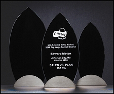 Flame Series Glass Award with Gunmetal Finish Base - 3 Sizes - $51 - $55.50 - $61.50