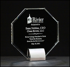 Octagon Series Crystal Award with Chrome-Plated Metal Base - 3 Sizes - $75 - $87 - $99