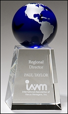 Crystal Award with Blue Globe - 5.25