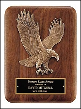 Solid American Walnut Plaque with Eagle Casting - $60 - $81