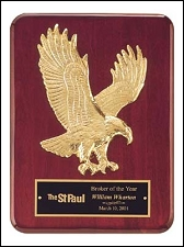 Rosewood Piano Finish Plaque with Eagle Casting - 9