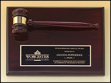 Rosewood Piano-Finish Gavel Plaque - 9