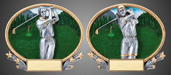 "3D Golf Oval Resin - 8.5"" x 7"" - Stand Alone & Wall Mountable"