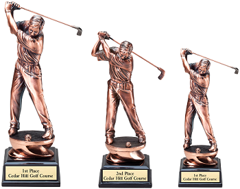 Copper Tone Golf Resin Trophy - Starting at $27