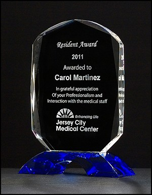 Diamond Series Clear Crystal Award with Cobalt Blue Crystal Base - 3 Sizes - $69 - $96 - $120