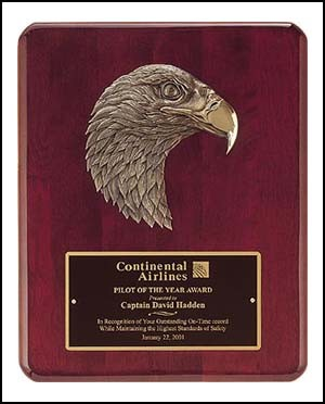 Rosewood Piano Finish Plaque with Eagle Casting - $69 - $108
