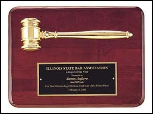 "Rosewood Piano Finish Gavel Plaque - 9"" x 12"""