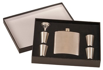 6 oz Stainless Steel Flask Set in Black Presentation Box