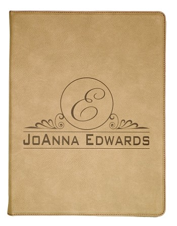 9 1/2 x 12 Light Brown Leatherette Portfolio with Notepad